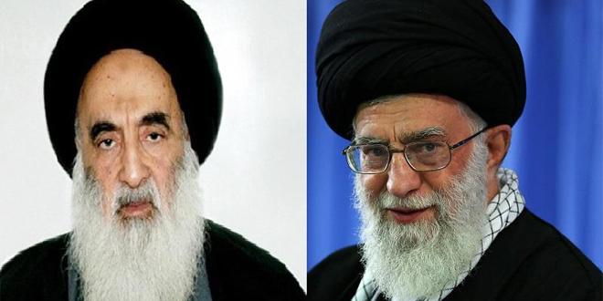 L'Aytaollah Sistani (sinistra) e la Guida suprema iraniana Khaminei