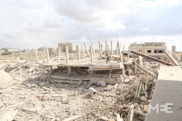 Demolizioni sul lato egiziano di Rafah (Foto: Middle East Eye)