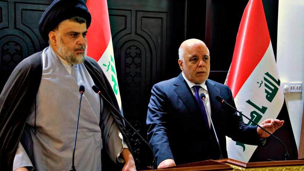 La conferenza stampa di sabato di al-Sadr e al-Abadi (Foto: Governo iracheno)