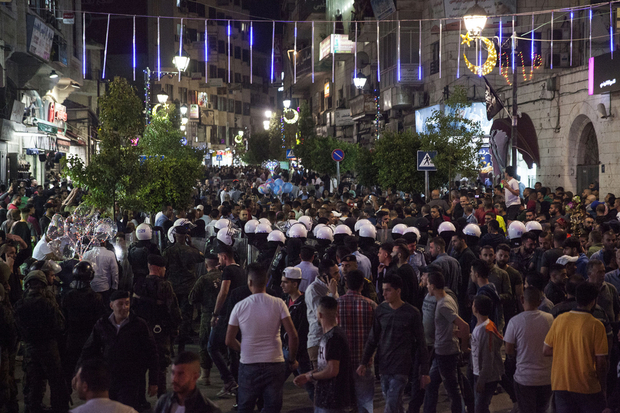 La protesta ieri a Ramallah