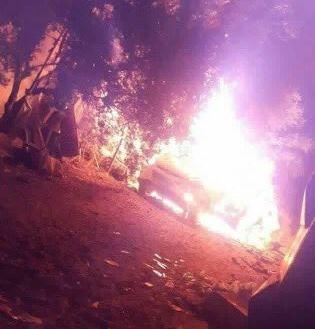 Il veicolo colpito a Gaza (Fonte: Twitter)