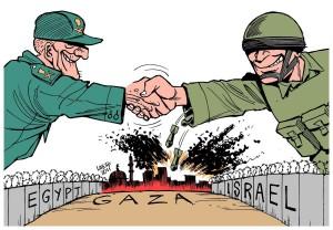 Un cartoon che accusa Egitto e Israele di essere alleati contro Gaza