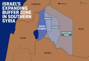 """La """"zona cuscinetto"""" che Israele avrebbe voluto creare in Siria, secondo una ricostruzione di Intercept"""