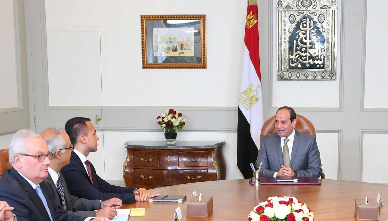 Il ministro Di Maio ieri con al-Sisi © Epa