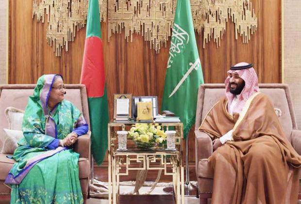 La premier Sheikh Hasina con il principe ereditario saudita Mohammed bin Salman