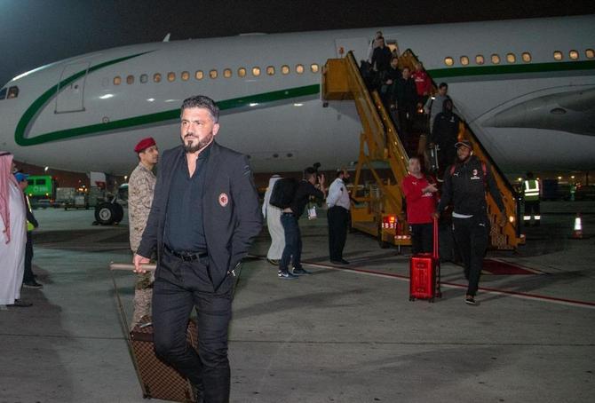 L'allenatore del Milan Rino Gattuso al suo arrivo a Gedda