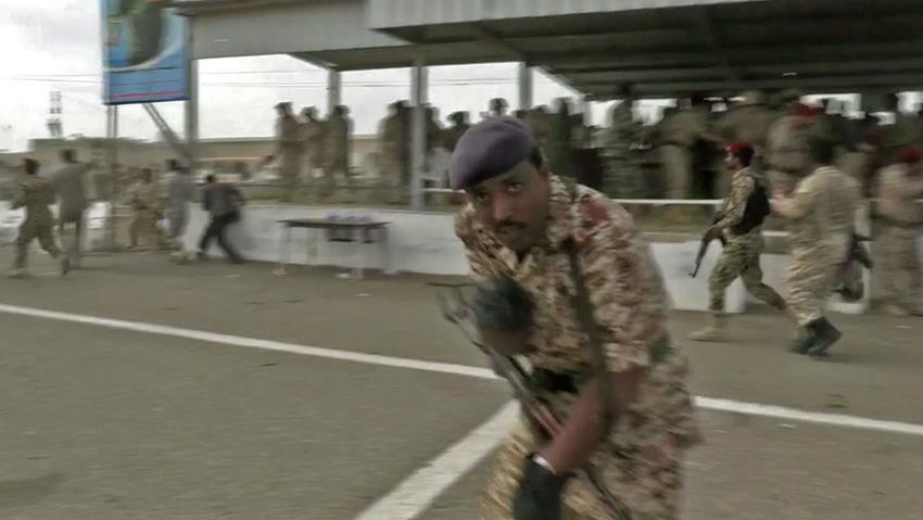 Un fermo immagine del video che mostra l'esplosione di ieri
