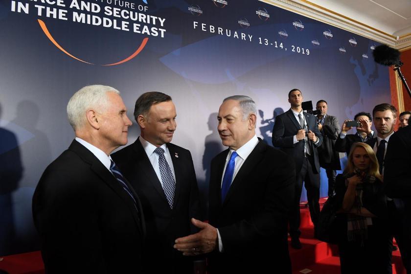 Il premier israeliano Netanyahu a Varsavia con il vice presidente americano Pence