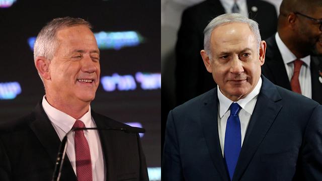 """Il candidato di """"Blu e Bianco"""" Gantz (a sinistra) e il premier israeliano uscente Netanyahu"""