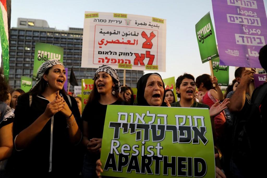 Manifestazione a Tel Aviv della minoranza araba d'Israele contro la legge Stato-Nazione ebraica, 2018 (REUTERS/Ammar Awad)
