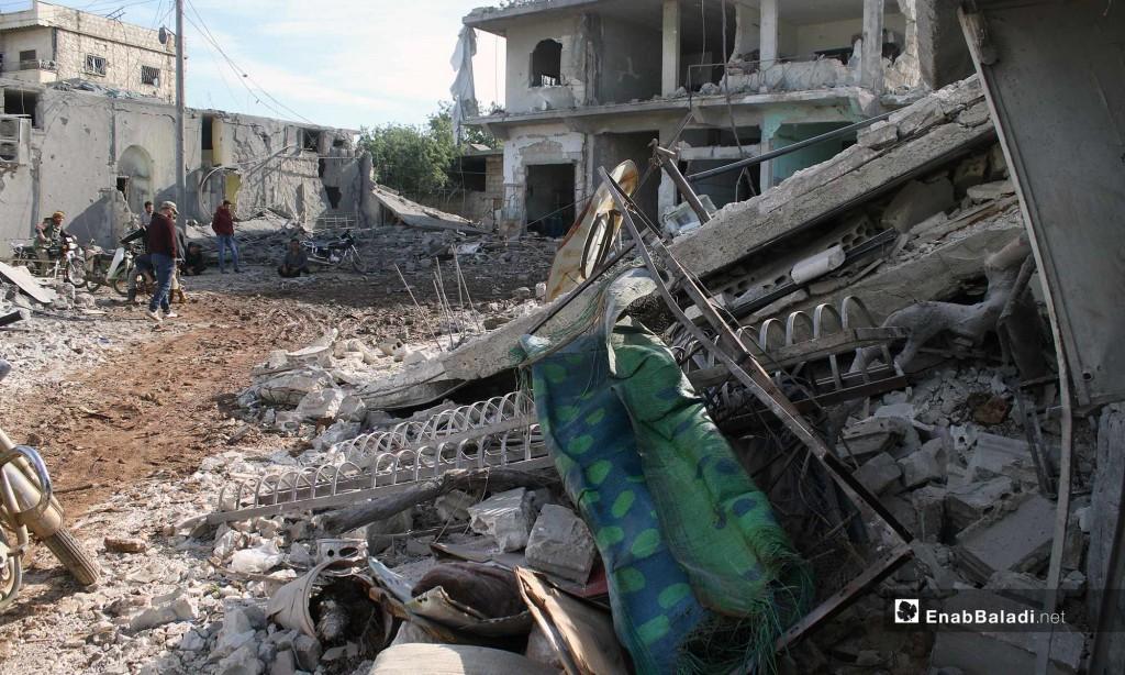 Bombardamenti nella provincia di Idlib (Foto: Enab Baladi)