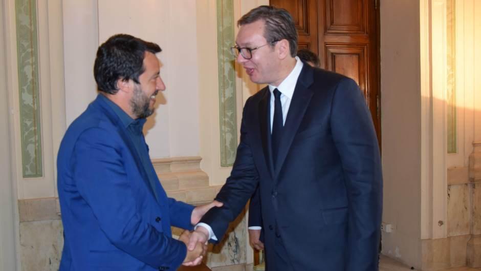 Salvini con il presidente serbo Vucic a Roma (Fonte: Serbian Monitor)