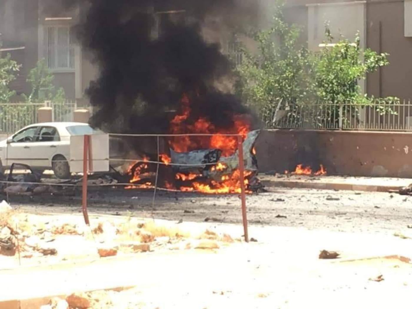 Esplosione della macchina oggi. (Fonte foto: Twitter)