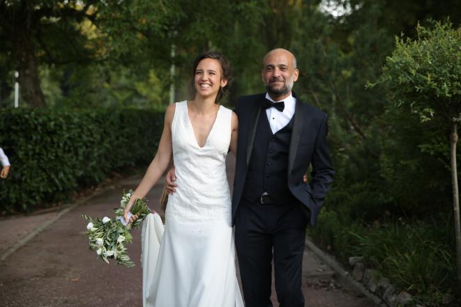 Celine Labrun e Ramy Shaath il giorno del matrimonio il 31 agosto del 2018