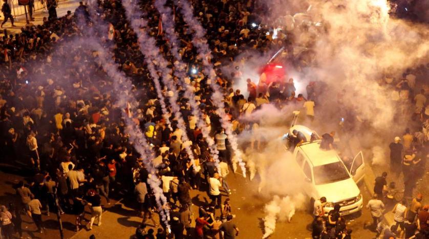 Manifestazioni a Beirut (foto di Mohamed Azakir/Reuters)
