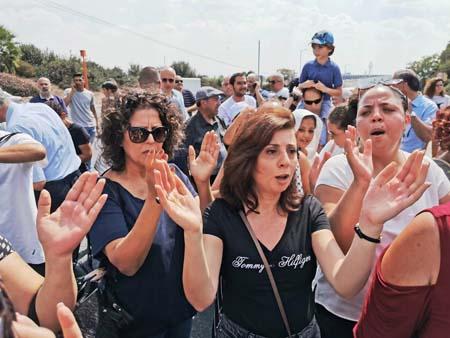 Manifestazione ieri a Nazareth (foto Panet/Panorama)