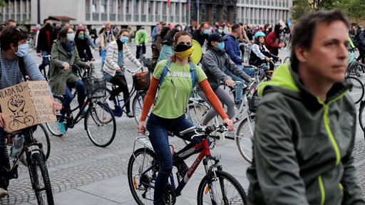 Protesta in bici a Lubiana (Fonte: Slovenia Times)