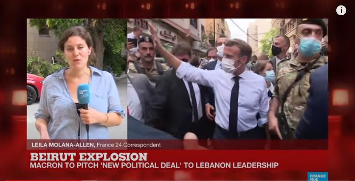 Macron a Beirut subito dopo l'esplosione del 4 agosto, nella diretta tv di France24