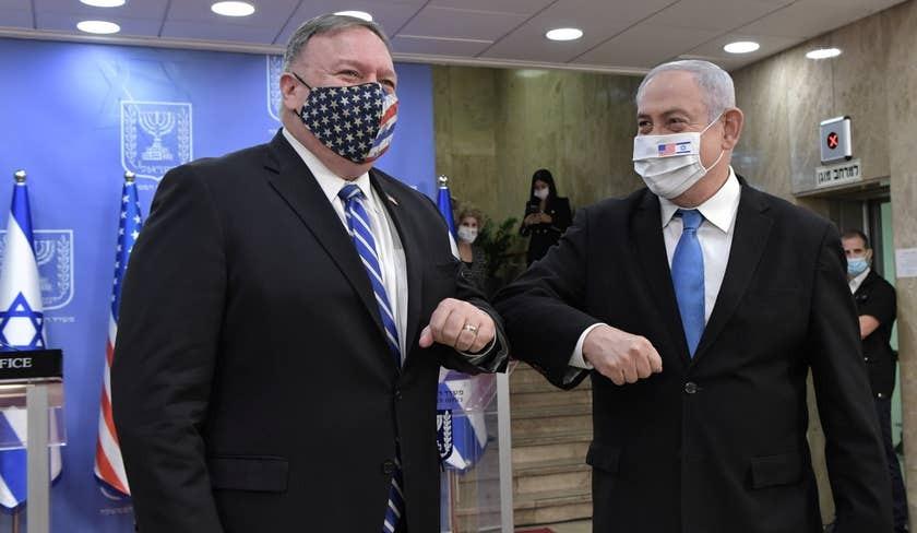 Il segretario di Stato Usa Mike Pompeo a Gerusalemme con il premier israeliano Netanyahu (Foto: Gpo)