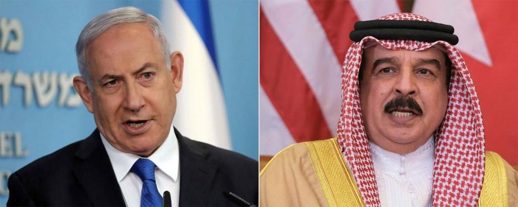 Il premier israeliano Netanyahu e re Hamad del Bahrain