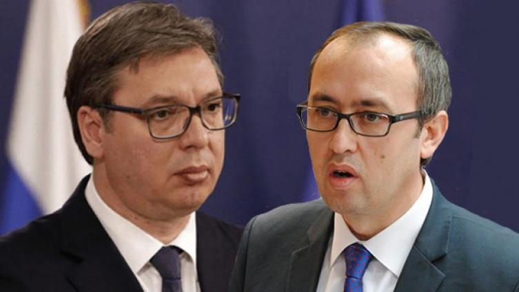 Il presidente serbo Vucic e il primo ministro kosovaro Hoti