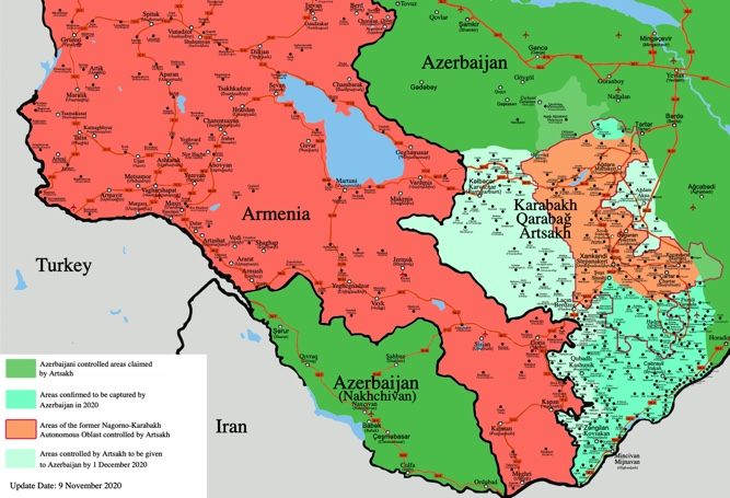 I nuovi confini dettati dal cessate il fuoco in Nagorno-Karabakh (Fonte: WikiCommons)