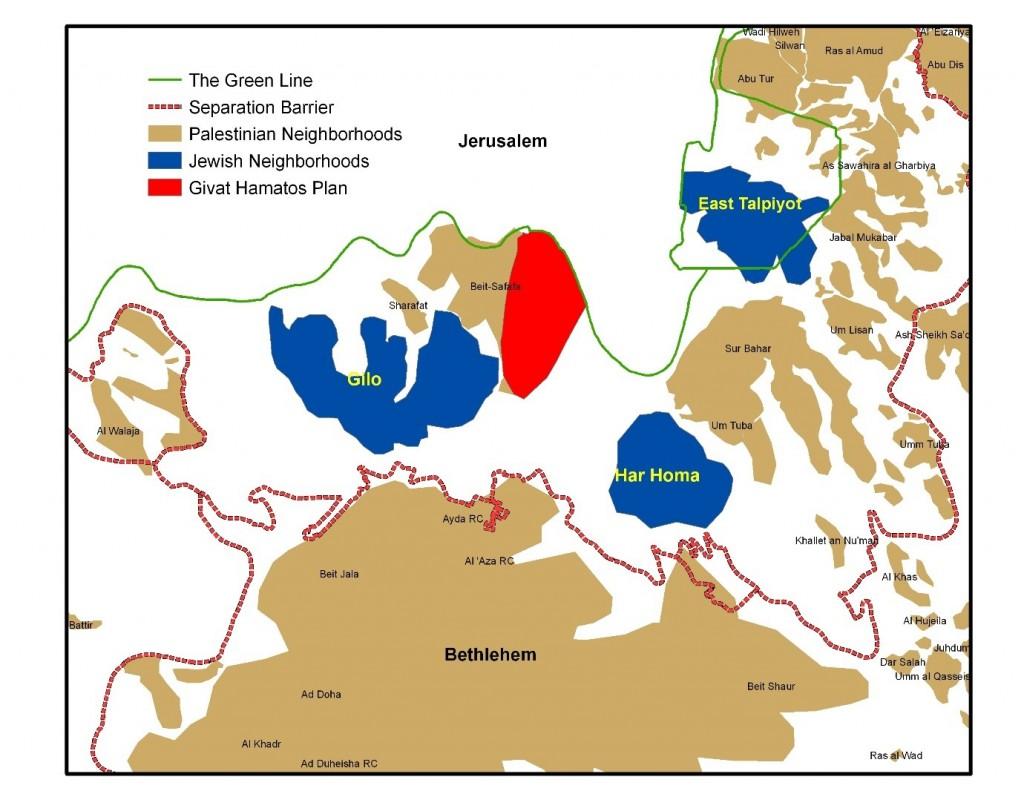 In rosso la nuova colonia di Givat Hamatos (Fonte: Peace Now)