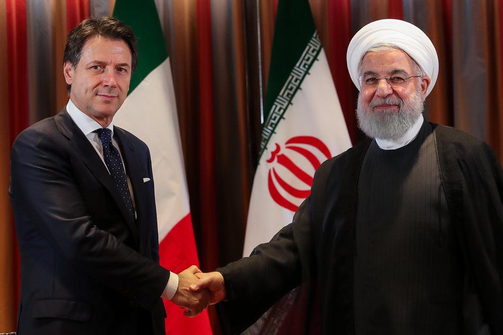 Il primo ministro Giuseppe Conte a New York con il presidente iraniano Hassan Rohani (Foto: Teheran Times)