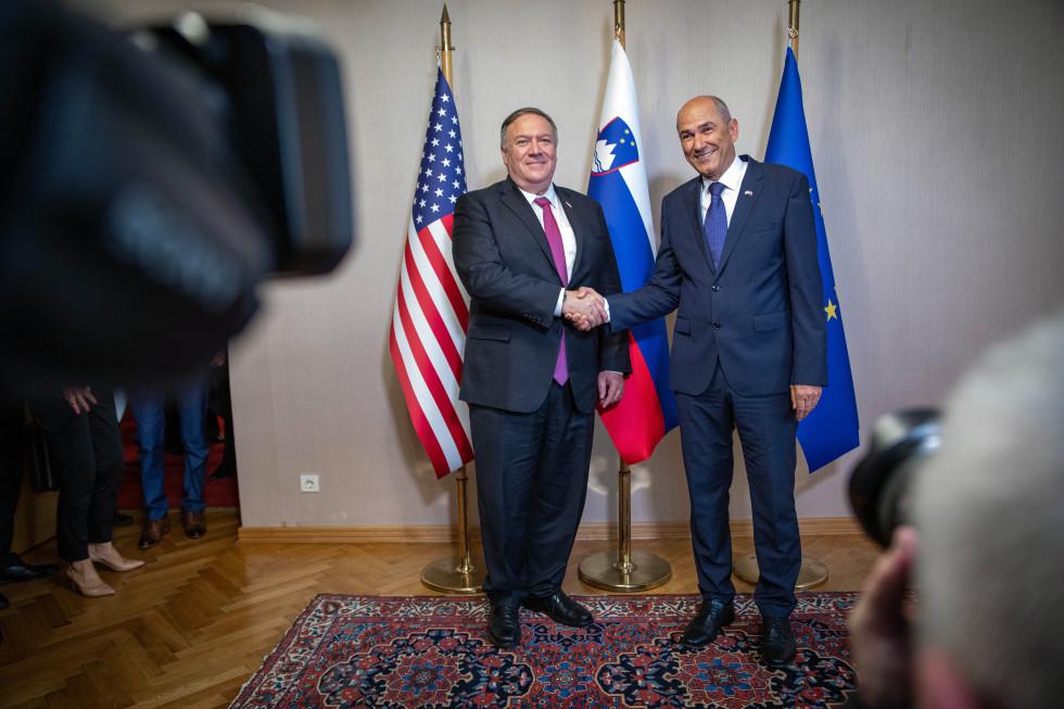 Janes Janša a Lubiana con il segretario di Stato Usa Mike Pompeo (Foto: Governo sloveno)