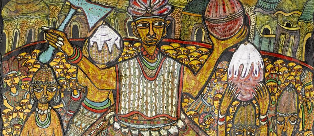 Rituale religioso nigeriano in un mosaico