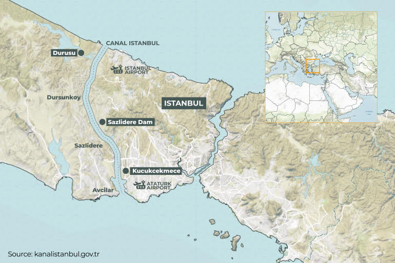 Il progetto del Kanal Istanbul in un'infografica nel sito governativo dedicato al piano infrastrutturale