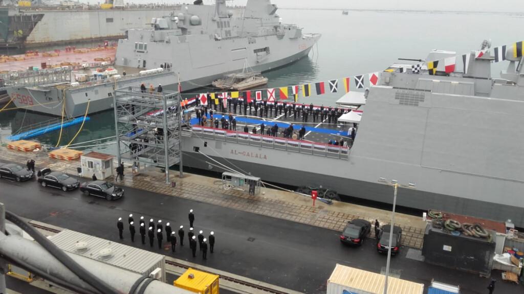 La prima fregata, al-Galala, consegnata alla fine del 2020 (foto: Rete Italiana Pace e Disarmo)